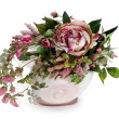 Colorful floral arrangement in a pink ceramic vase, isolated on — Stock Photo #14120578