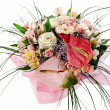 Colorful floral bouquet of anthuriums, roses and orchids centerp — Stock Photo
