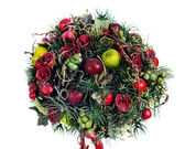 Composición abstracta de las manzanas, globos, rosas y pino — Foto de Stock