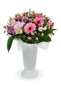 Colorful floral bouquet of roses, lilies and orchids arrangement — Stock Photo