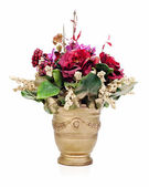 Colorful flower bouquet from artificial flowers arrangement cent — Stock Photo