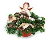 クリスマス クリスマス ボール、人工花の配置 — ストック写真