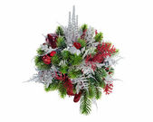 Christmas arrangement of Christmas balls, snowflakes, candles , — Stock Photo