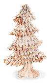 Abstract fir tree from wood chips for Christmas isolated on whit — Stock Photo