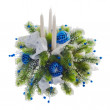 Christmas arrangement of Christmas balls, snowflakes, candles , — 图库照片