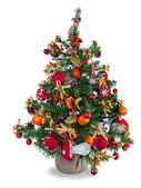 Fir kerstboom versierd met speelgoed en kerstversiering — Stockfoto
