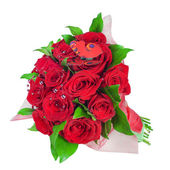 Colorful flower bouquet from red roses a isolated on white backg — Stock Photo