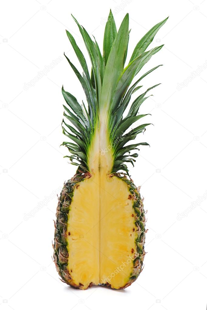 Ripe whole pineapple with a quarter cut isolated on white background — Stock Photo #15802021