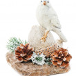Christmas arrangement of bird on a nut with cones, pine needles — Stock Photo