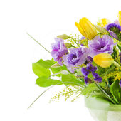 Fragment of colorful bouquet of roses, tulips and freesia isolat — Stock Photo