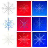 Set of snowflakes on backgrounds — Stock Photo
