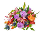 Colorful floral bouquet of roses,cloves and orchids isolated on — Stock Photo