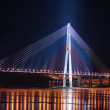 Night view of the longest cable-stayed bridge in the world in th - Stock Photo