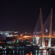 Night view of the bridge in the Russian Vladivostok over the Gol - Stock Photo