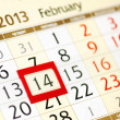 Stock Photo: Calendar page with red frame on February 14 2013
