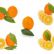 Set of fresh ripe orange fruits with cut and green leaves isolat — Stock Photo