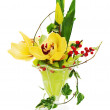 Bouquet from orchids, tulips and ivy arrangement centerpiece in — Stock Photo