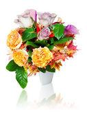 Colorful autumn flower bouquet arrangement centerpiece in vase i — Stock Photo