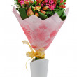 Colorful flower bouquet arrangement centerpiece in vase isolated — Zdjęcie stockowe