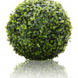 Stock Photo: Green sphere from artificial grass with reflection isolated on w