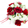 Flower wedding bouquet from white and red roses isolated on whit — Stock Photo