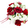 Stock Photo: Flower wedding bouquet from white and red roses isolated on whit