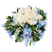 Floral wedding bouquet from white roses and delphinium isolated — Stock Photo