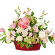 Colorful floral bouquet from roses and cloves arrangement center — Stock Photo #22039305