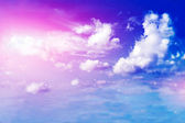 Land, blue sky and beautiful clouds — Stock Photo