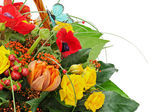 Fragment of colorful bouquet isolated on white background. — Stock Photo