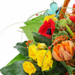 Fragment of colorful bouquet isolated on white background. Close — Stock Photo