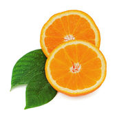 Fresh orange fruit with green leaves isolated on white backgroun — Stock Photo