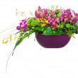 Colorful flower bouquet arrangement centerpiece in vase isolated — Foto de stock #26837277