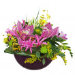 Colorful flower bouquet arrangement centerpiece in vase isolated — Stock Photo #27194489