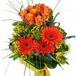 Stock Photo: Colorful bouquet from roses and gerberas isolated on white backg
