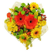 Colorful bouquet from gerberas isolated on white background. — Stock Photo