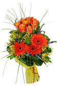 Colorful bouquet from roses and gerberas isolated on white backg — Stock Photo