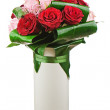 Stock Photo: Colorful flower bouquet from roses in white vase isolated on whi