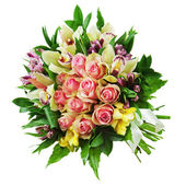 Floral bouquet of roses, lilies and orchids arrangement centerpi — Stock Photo