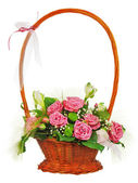 Colorful flower bouquet from roses in wicker basket isolated on — Stock Photo