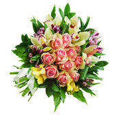 Floral bouquet of roses, lilies and orchids arrangement centerpi — Stock Photo