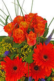 Colorful bouquet from roses and gerbera flowers isolated on whit — Stock Photo
