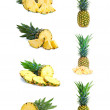 Set of fresh pineapple fruits with cut isolated on white. — Stock Photo