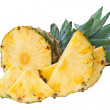 Stock Photo: Ripe pineapple with slices isolated on white background