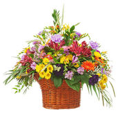 Central de arranjo de buquê de flor na cesta de vime isolada — Fotografia Stock