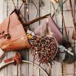 Still-life of rusty metal items on wooden background. — Stock Photo