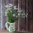 Still life with blue asters in vase. — Stock Photo