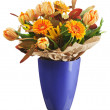 Stock Photo: Colorful bouquet from tulips and gerbera flowers isolated on whi