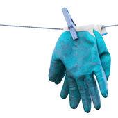 Old gardening gloves isolated on white background. — Stock Photo