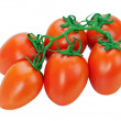 Stock Photo: Red tomatoes on the vine isolated on white background.